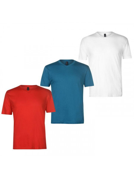 Pánske tričko Donnay Three Pack V Neck TShirt Mens
