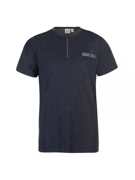 Pánske tričko Lee Cooper Chambray Grandad Collar T Shirt Mens
