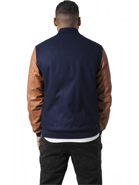 Pánska bunda Urban Classics Wool Leather Button College Jacket navy cognac
