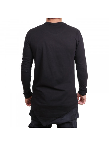 Pánske tričko D & A Lifestyle City Brand Real Estate Oversize Longsleeve black white