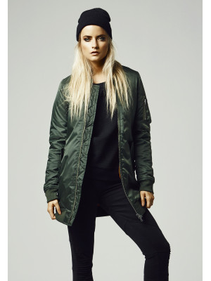 Dámska bombera Urban Classics Ladies Long Bomber Jacket Olive