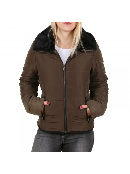 Dámska zimná bunda Urban Surface Ladies Doubled Collar Winter Jacket olive