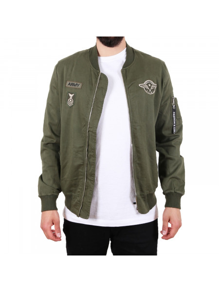 Pánska bombera D & A Lifestyle Wings Power Army Style Bomber Jacket olive