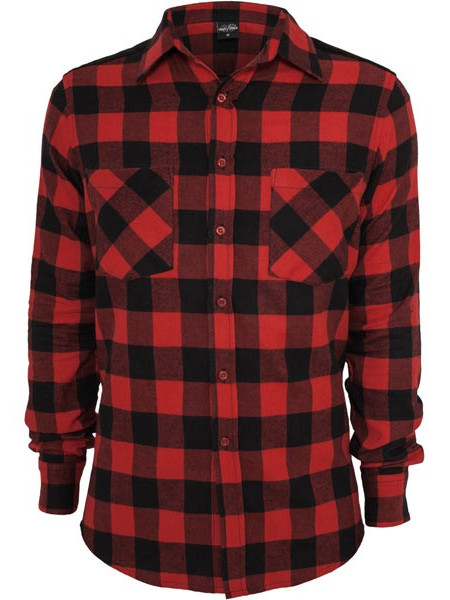 Pánska košeľa URBAN CLASSICS Cord Patched Checked Flanell Men Shirt black red