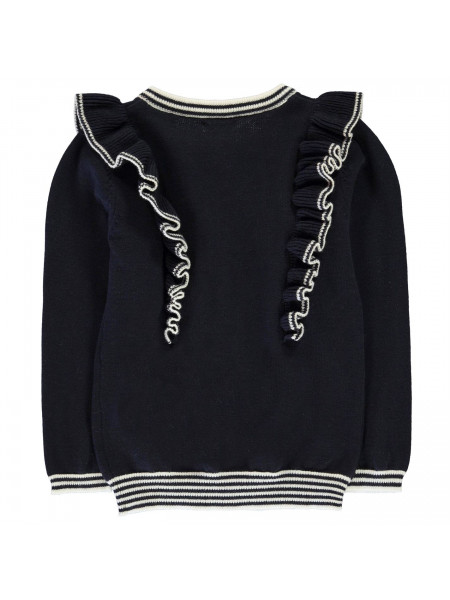 Crafted Essentials - Navy Ruffle Cardi Girls Junior